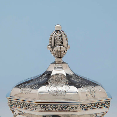 Cover to John C. Moore Antique Coin Silver Covered Sugar Bowl, NYC, c. 1840's