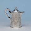 Lincoln & Reed Antique Coin Silver Octagonal Hot Milk Pitcher, Boston, 1841-48