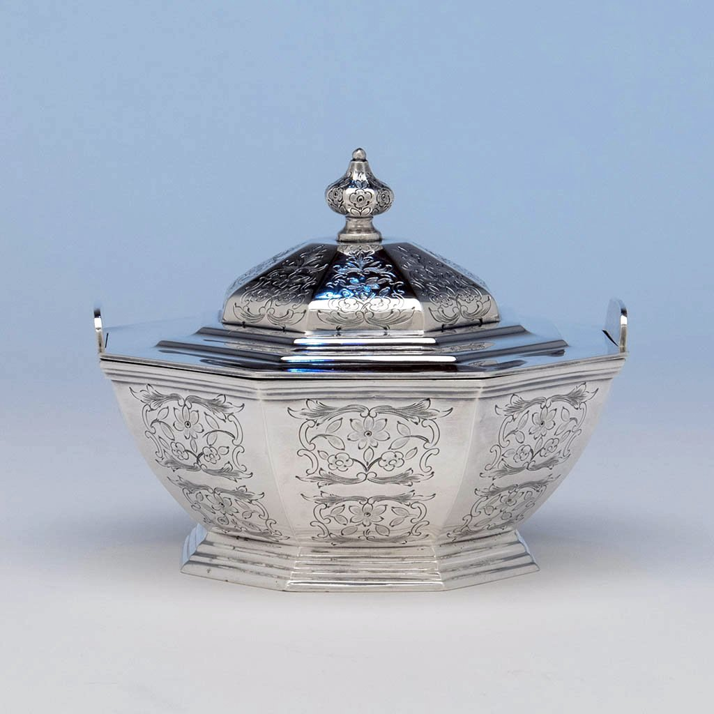 Jones, Ball & Co Antique Coin Silver Covered Dish, Boston, 1853-55