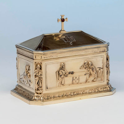 "Angle view of George E. Germer: ""The Supper at Emmaus"" Silver Gilt Ciborium, Mason, NH, c. 1922"