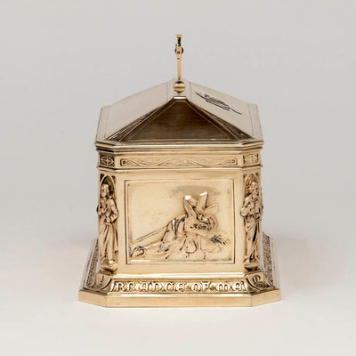 "Cross panel George E. Germer: ""The Supper at Emmaus"" Silver Gilt Ciborium, Mason, NH, c. 1922"