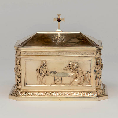 "Front panel George E. Germer: ""The Supper at Emmaus"" Silver Gilt Ciborium, Mason, NH, c. 1922"