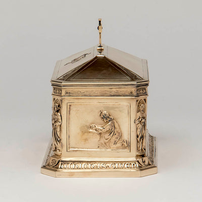 "Garden panel George E. Germer: ""The Supper at Emmaus"" Silver Gilt Ciborium, Mason, NH, c. 1922"