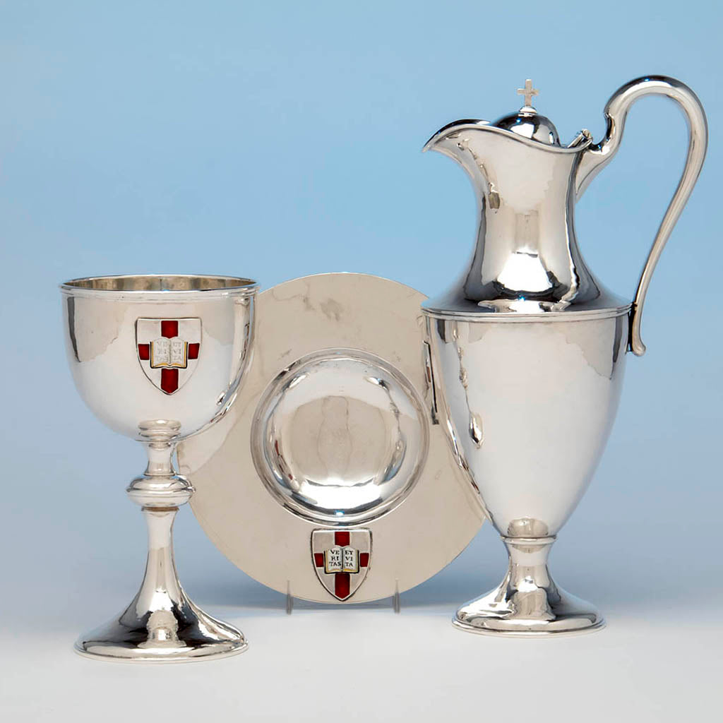 Karl Leinonen Arts & Crafts Sterling Silver and Enamel Communion Service, Boston, c. 1916