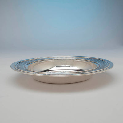 Flat view of Gorham Antique Sterling Silver Alms Dish, Providence, RI, c. 1905