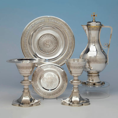 Thomas Peard Rare Antique Sterling Silver Communion Set, London, 1871