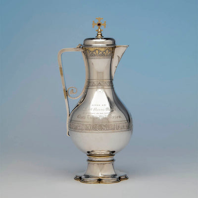 Flagon to Thomas Peard Rare Antique Sterling Silver Communion Set, London, 1871