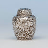 Durgin Antique Sterling Silver Repousse Tea Caddy, Concord, NH, c. 1900