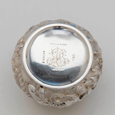 Marks on Theodore B. Starr Antique Sterling Silver Repousse Tea Caddy, NYC, c. 1900