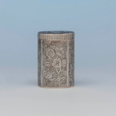 Chinese Export Antique Silver Tea Caddy, early 20th c.