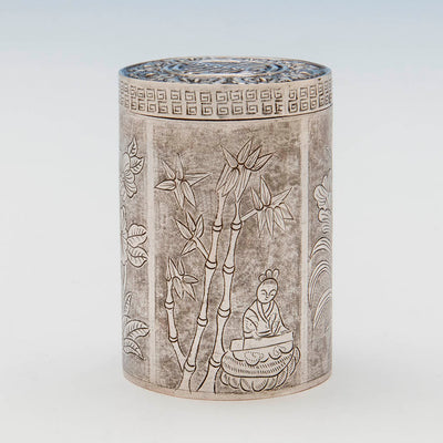 Engraving on Chinese Export Antique Silver Tea Caddy, early 20th c.