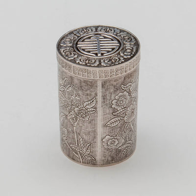 Top of Chinese Export Antique Silver Tea Caddy, early 20th c.