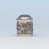 Indian Antique Silver Repousse Container, Calcutta, c. 1900