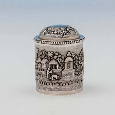 Figures on Indian Antique Silver Repousse Container, Calcutta, c. 1900