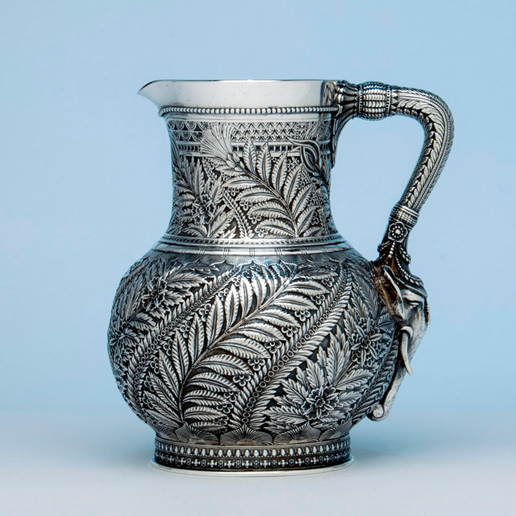 Tiffany and Co Antique Sterling Silver Persian Design 'Elephant' Pitcher, NYC, NY, c. 1880