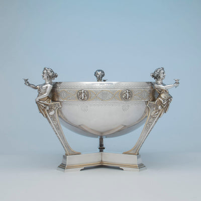 Gorham Antique Coin Silver Figural Punch Bowl, Providence, 1866-67