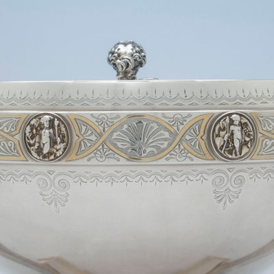 Detailed engraving on Gorham Antique Coin Silver Figural Punch Bowl, Providence, 1866-67
