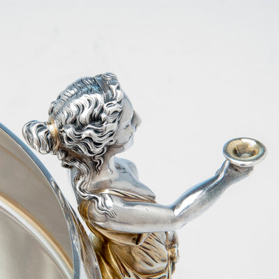 Casting detail on Gorham Antique Coin Silver Figural Punch Bowl, Providence, 1866-67