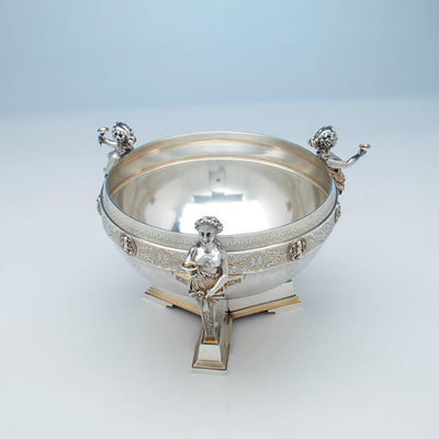 Interior of Gorham Antique Coin Silver Figural Punch Bowl, Providence, 1866-67