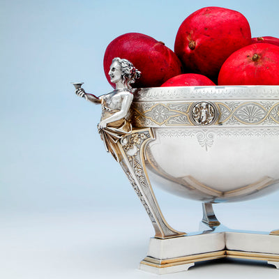 Gorham Antique Coin Silver Figural Punch Bowl, Providence, RI, 1866-67