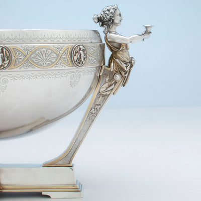 Right profile of Gorham Antique Coin Silver Figural Punch Bowl, Providence, 1866-67