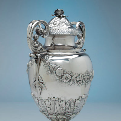 Handle to William Adams Monumental Antique Coin Silver Urn, NYC, NY, c. 1840
