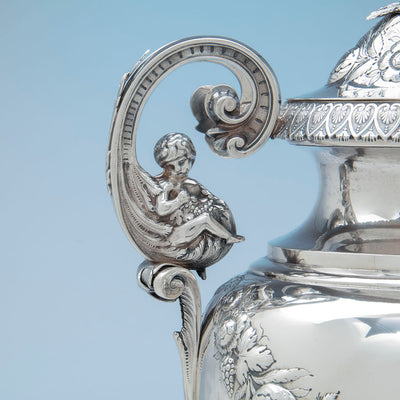 Figure on William Adams Monumental Antique Coin Silver Urn, NYC, NY, c. 1840