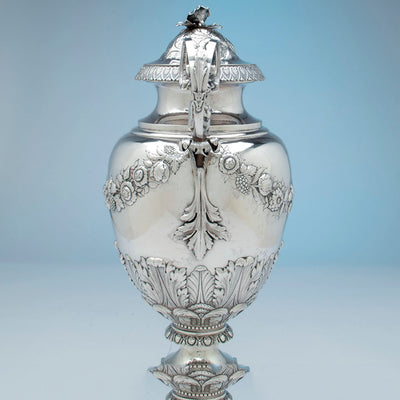 Side view of William Adams Monumental Antique Coin Silver Urn, NYC, NY, c. 1840