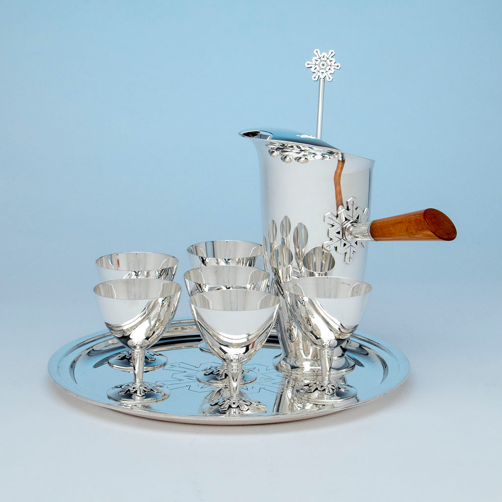 Tiffany and Co. Sterling Snowflake Design Cocktail Set, NYC, NY, c. 1956
