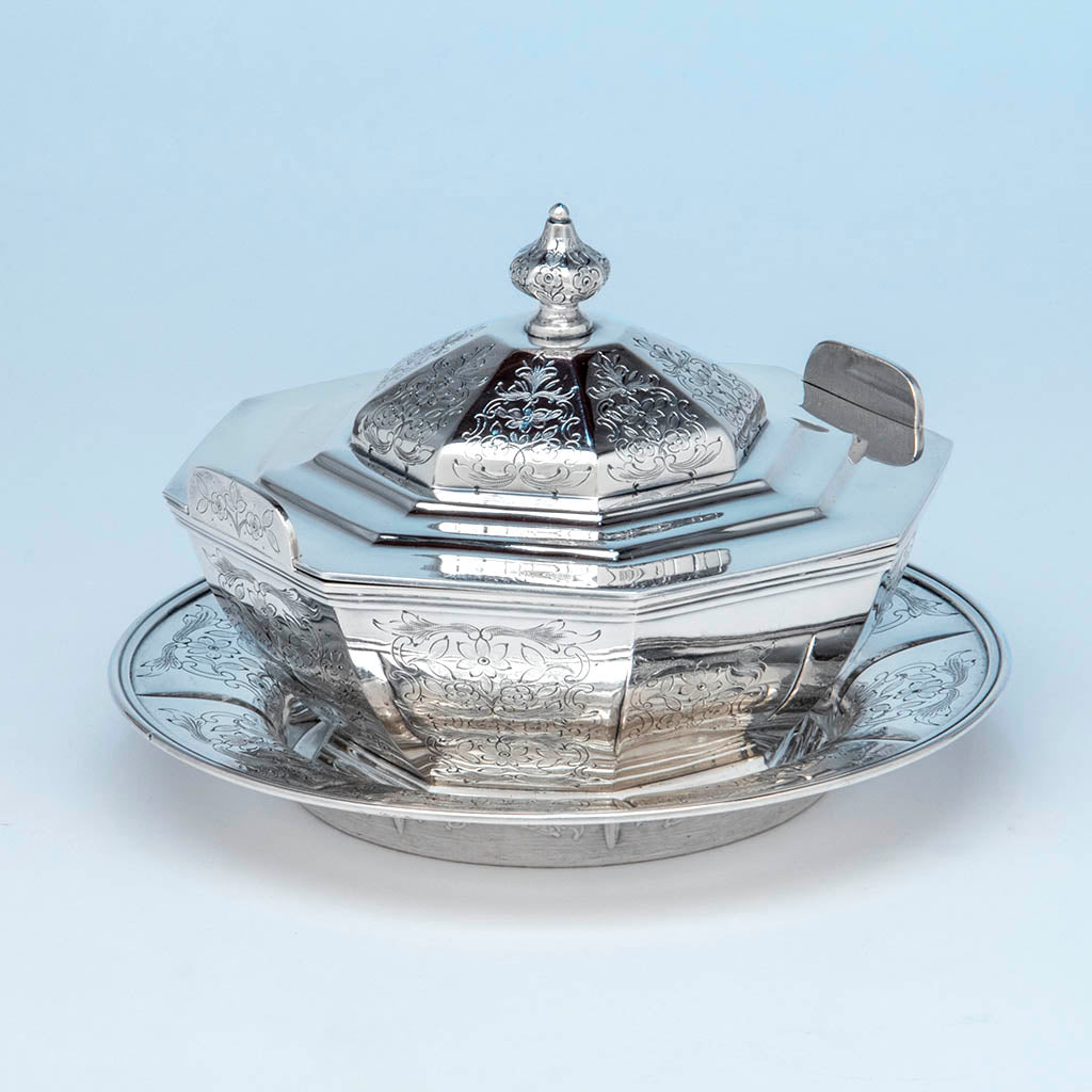 Jones, Ball & Co Antique Coin Silver Covered Dish with Underplate, Boston, 1853-55