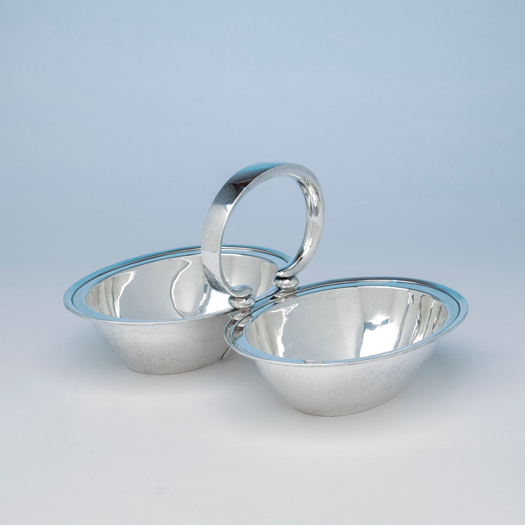 Porter Blanchard Sterling Silver Double-Serving Dish, Burbank, CA, 1923-33