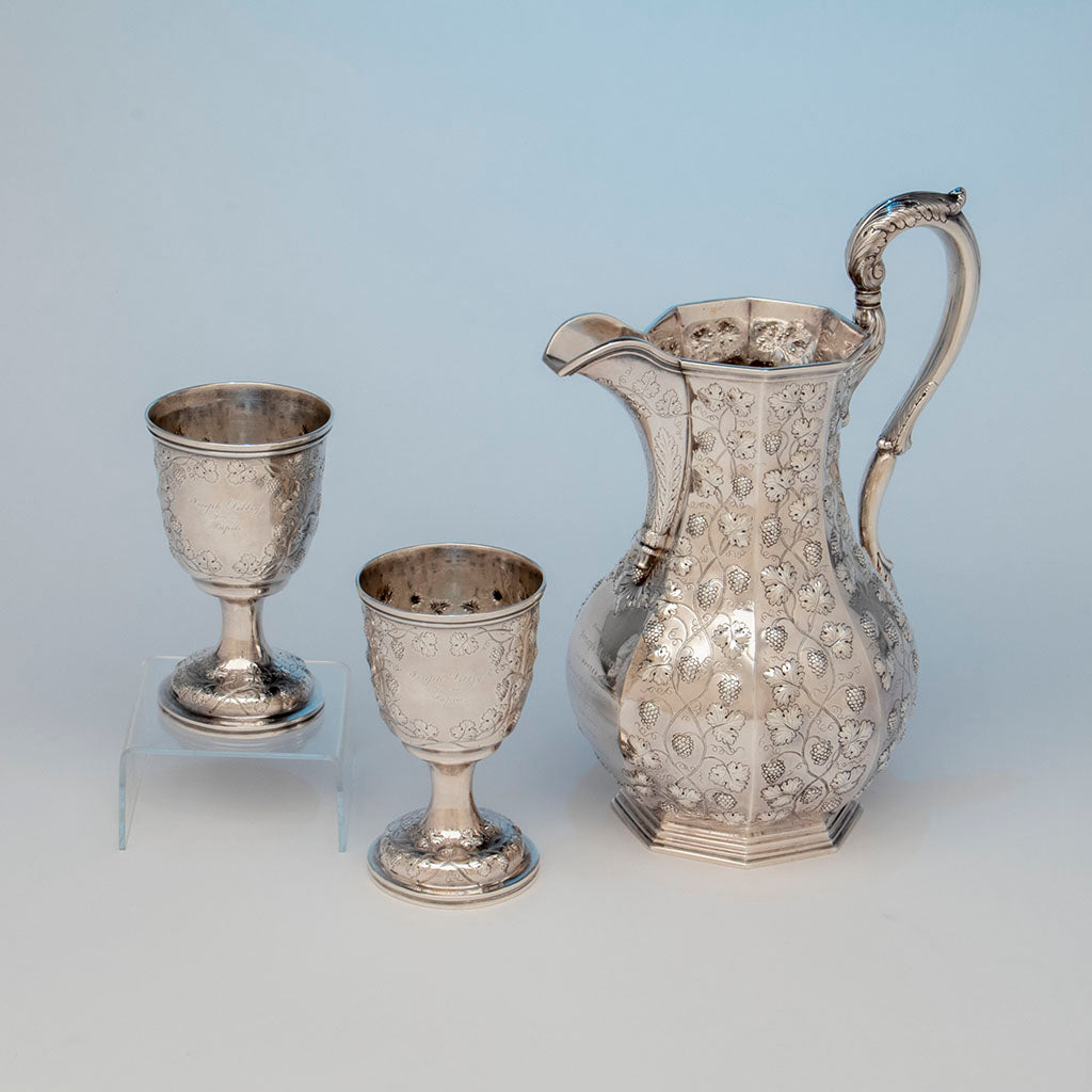 Jones, Ball & Poor Coin Silver Presentation Pitcher and Goblets, c. 1850, probably made by Woodward & Grosjean