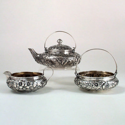Whiting Sterling 3 pc. Tete-a-tete Tea Service in the Japanese Taste, c. 1882