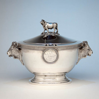 Reverse side of John Wendt (attr.) Antique Sterling Silver Figural Medallion Tureen, retailed by Ball, Black & Co, New York City, c. 1865