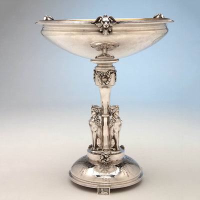 Gorham Antique Coin Silver Egyptian Revival Figural Centerpiece Bowl, Providence, RI, c. 1867