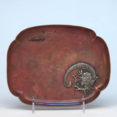 Gorham Antique Copper and Applied Silver Tray, Providence, RI, 1884