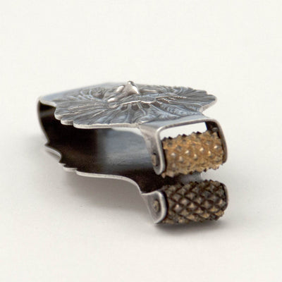 Rollers on Unger Brothers Antique Sterling Silver Native American Check Protector, Newark, NJ, c. 1904