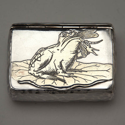 Tiffany & Co Antique Aesthetic Movement Parcel Gilt Sterling Silver Box with Frog, NEW YORK CITY, c. 1879