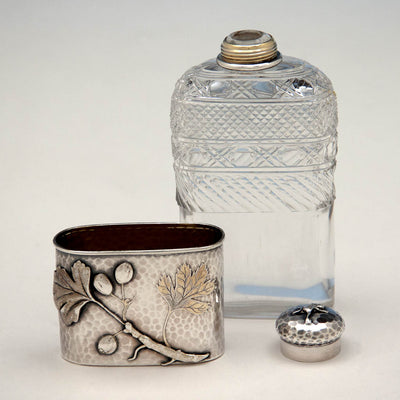 Parts of Tiffany & Co Antique Aesthetic Movement Sterling Silver and Cut Glass Flask in the Japanese Taste, New York City, c. 1877