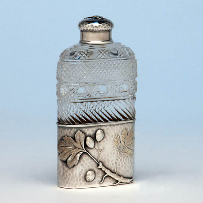 Tiffany & Co Antique Aesthetic Movement Sterling Silver and Cut Glass Flask in the Japanese Taste, New York City, c. 1877