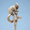 Closeup of Gorham Antique Sterling Silver Figural Squirrel Nut Picks, Providence, RI, set of 10, c. 1870