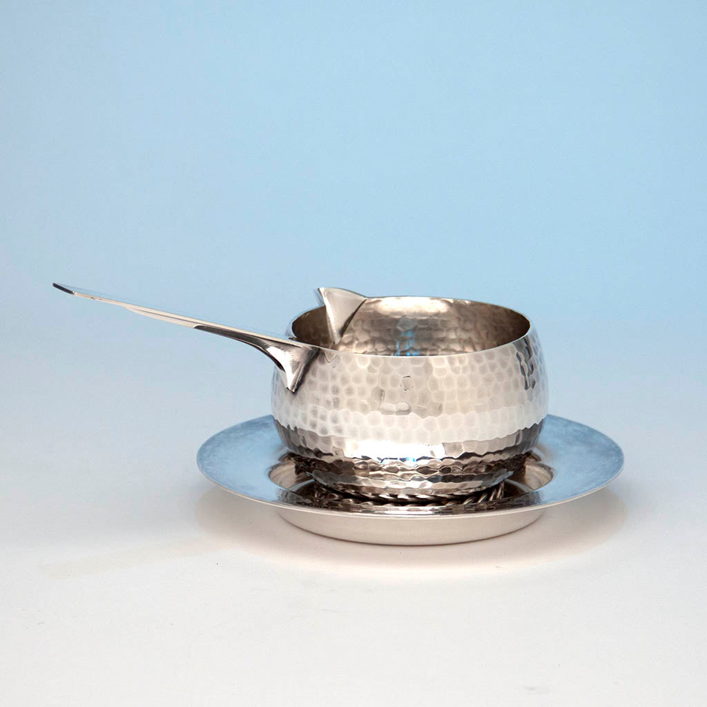 Jean Després Mid-Century Modern Silver Plate Sauce Boat with Stand, Avallon, France, c. 1950's