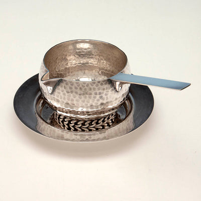 Top of Jean Després Mid-Century Modern Silver Plate Sauce Boat with Stand, Avallon, France, c. 1950's