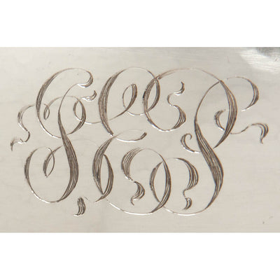 Monogram on The Kalo Shops Arts & Crafts Sterling Silver Oval Covered Serving Dish, Chicago, IL, 1912-16