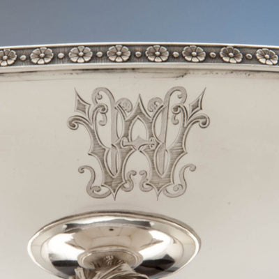 Monogram on Gorham (attr.) Antique Sterling Silver Figural Centerpiece/ Fruit Stand retailed by Ball, Black & Company , Providence, RI, c. 1870