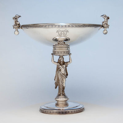 Gorham (attr.) Antique Sterling Silver Figural Centerpiece/ Fruit Stand retailed by Ball, Black & Company , Providence, RI, c. 1870