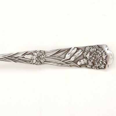 Detail of Shiebler 'Flora' Pattern Antique Sterling Silver Dessert Spoons, New York City, c. 1890's, set of 12