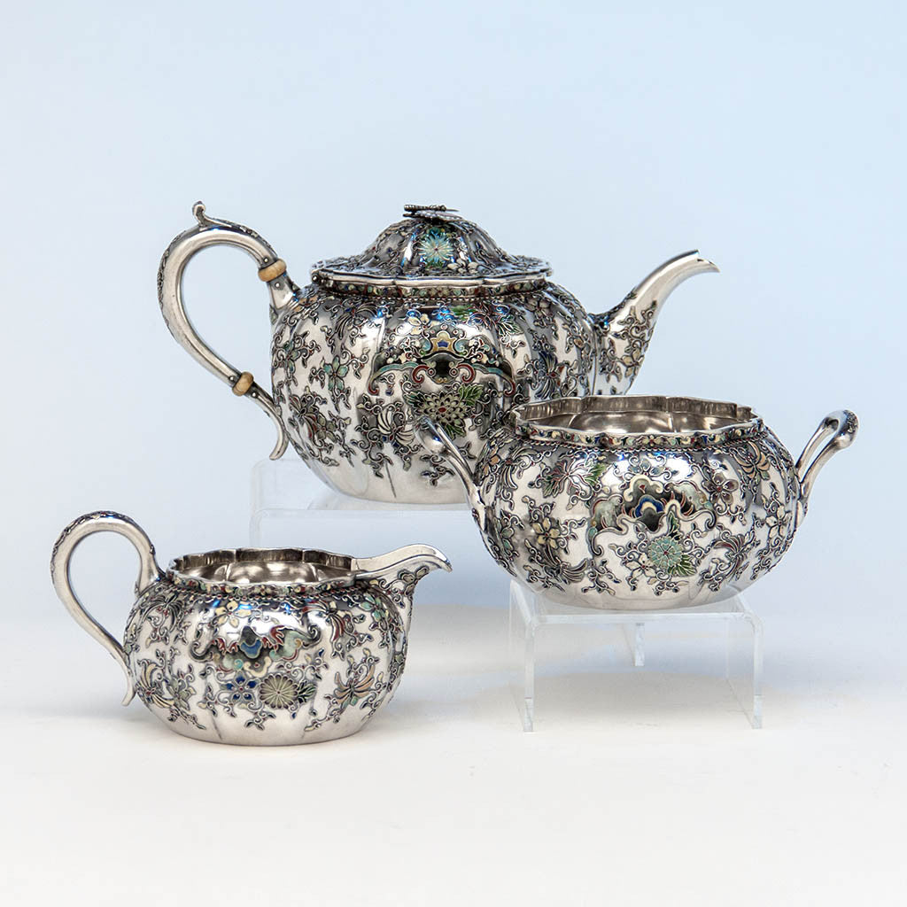 Gorham 'Japanese Work' Antique Sterling Silver and Enamel 'Sample' Tea Set, Providence, RI, 1897-98