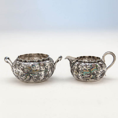 Phoenix birds on Gorham 'Japanese Work' Antique Sterling Silver and Enamel 'Sample' Tea Set, Providence, RI, 1897-98