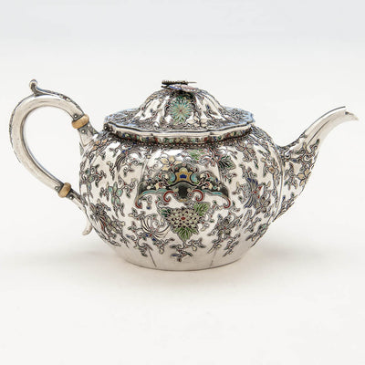 Tea pot to Gorham 'Japanese Work' Antique Sterling Silver and Enamel 'Sample' Tea Set, Providence, RI, 1897-98
